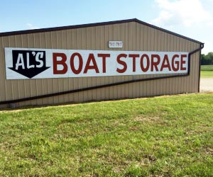 exterior of al's boat storage